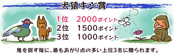 犬猿キジ賞 1位 2000ポイント 2位 1500ポイント 3位 1000ポイント