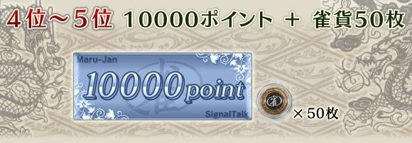 4位〜5位 10000ポイント+雀貨50枚