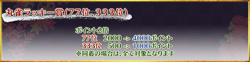 丸雀ラッキー賞(77位、333位)