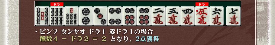 ・ピンフ タンヤオ ドラ1 赤ドラ1の場合  飜数4 - ドラ2 = 2となり、2点獲得