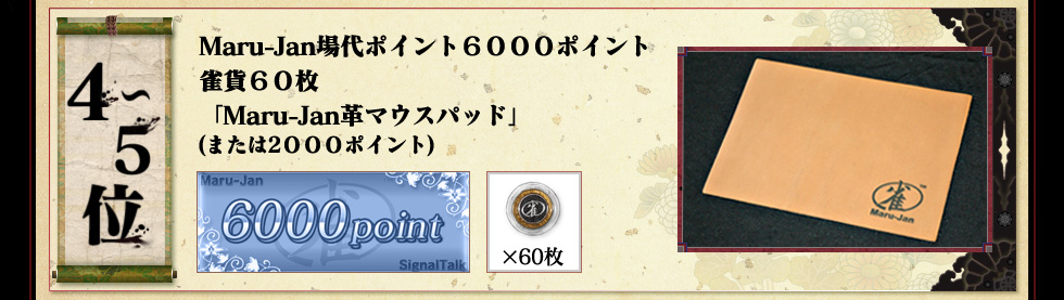 4〜5位 Maru-Jan場代ポイント6000ポイント 雀貨60枚 「Maru-Jan革マウスパッド」 (または2000ポイント)