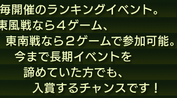 日毎開催のランキングイベント。東風戦なら4ゲーム、東南戦なら2ゲームで参加可能。今まで長期イベントを諦めていた方でも、入賞するチャンスです!