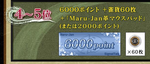 4〜5位6000ポイント+雀貨60枚+「Maru-Jan革マウスパッド」(または2000ポイント)