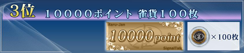 3位 10000ポイント 雀貨100枚