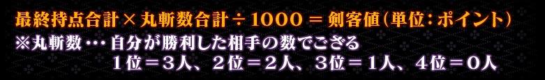 最終持点合計×丸斬数合計÷1000=剣客値(単位:ポイント)※丸斬数…自分が勝利した相手の数でござる        1位=3人、2位=2人、3位=1人、4位=0人