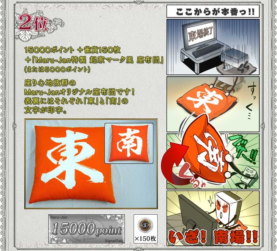 2位15000ポイント+雀貨150枚+「Maru-Jan特製 起家マーク風 座布団」(または5000ポイント)座り心地抜群のMaru-Janオリジナル座布団です!表裏にはそれぞれ「東」と「南」の文字が印字。