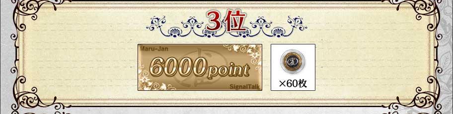 3位6000ポイント+雀貨60枚