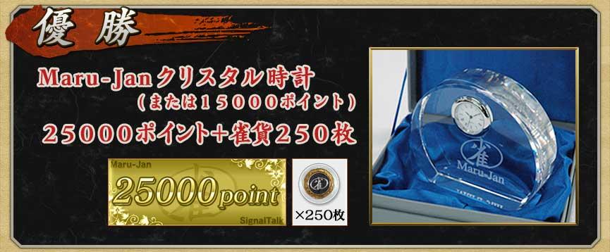 優勝Maru-Janクリスタル時計(または15000ポイント)25000ポイント+雀貨250枚
