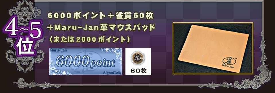 4〜5位6000ポイント+雀貨60枚+Maru-Jan革マウスパッド(または2000ポイント)