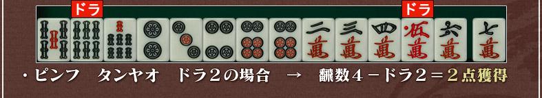 ・ピンフ タンヤオ ドラ2の場合 → 飜数4-ドラ2=2点獲得