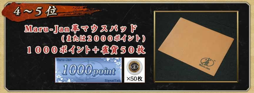 4〜5位Maru-Jan革マウスパッド(または2000ポイント)1000ポイント+ 雀貨50枚