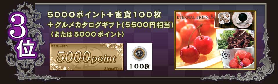 3位5000ポイント+雀貨100枚+グルメカタログギフト(5500円相当)(または5000ポイント)