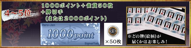 4〜5位1000ポイント+雀貨50枚+牌切手(または2000ポイント)