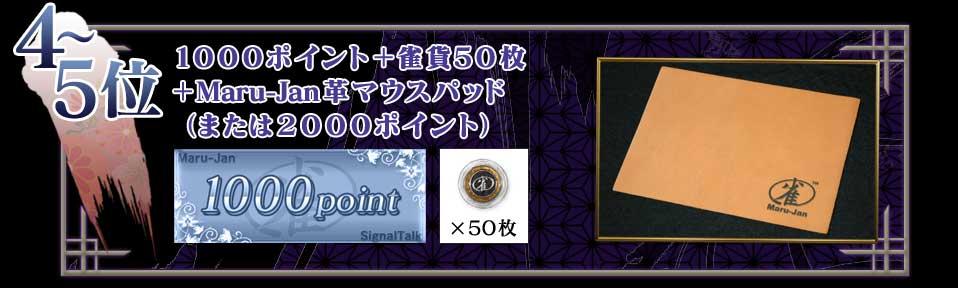 4〜5位 1000ポイント+雀貨50枚+Maru-Jan革マウスパッド(または2000ポイント)