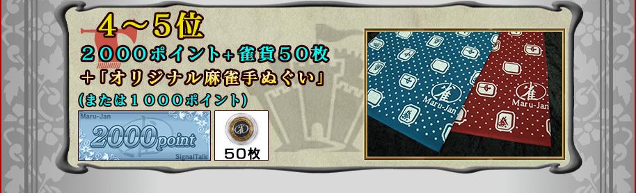 ■4〜5位Maru-Jan場代ポイント2000ポイント+雀貨50枚+オリジナル麻雀手ぬぐい(または1000ポイント)