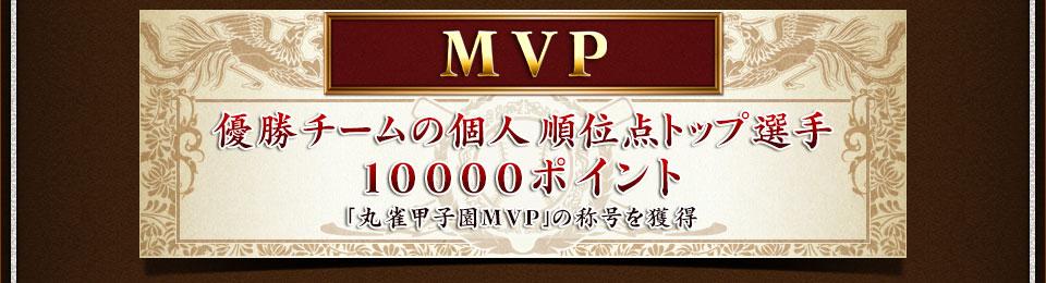 MVP優勝チームの個人順位点トップ選手10000ポイント「丸雀甲子園MVP」の称号を獲得