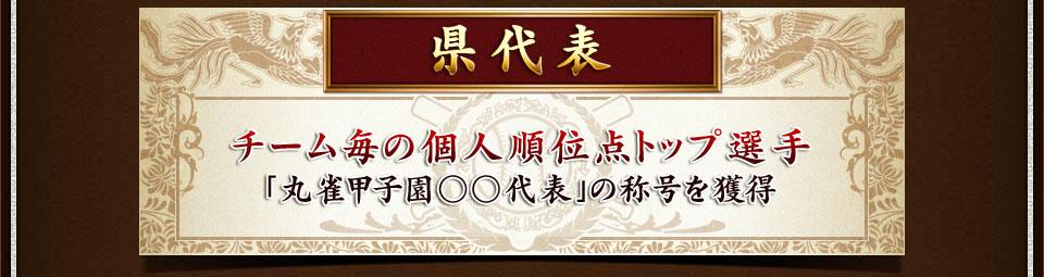 県代表チーム毎の個人順位点トップ選手(MVPは除く)「丸雀甲子園○○代表」の称号を獲得