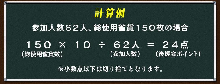 計算例参加人数62人、総使用雀貨150枚の場合150(総使用雀貨数) × 10 ÷ 62人(参加人数)  = 24点(後援会ポイント)※小数点以下は切り捨てとなります。