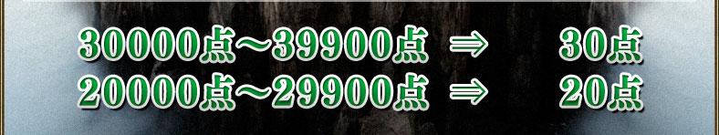 30000点~39900点⇒30点 20000点~29900点⇒20点