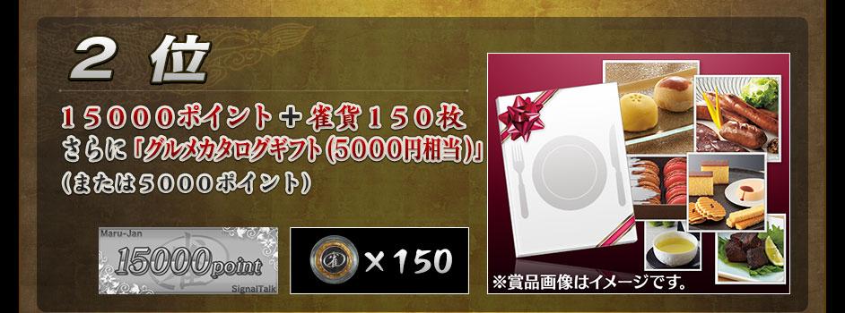 2位15000ポイント+雀貨150枚+グルメカタログギフト(5000円相当)(または5000ポイント)
