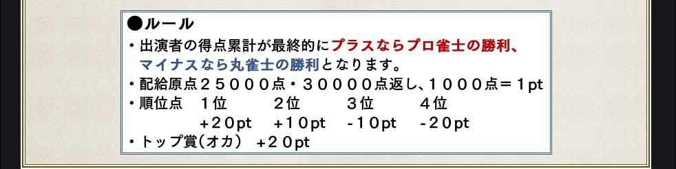 ●ルール・出演者の得点累計が最終的にプラスならプロ雀士の勝利、 マイナスなら丸雀士の勝利となります。・配給原点25000点・30000点返し、1000点=1pt.・順位点 1位   2位   3位  4位       +20pt +10pt -10pt. -20pt・トップ賞(オカ) +20pt.