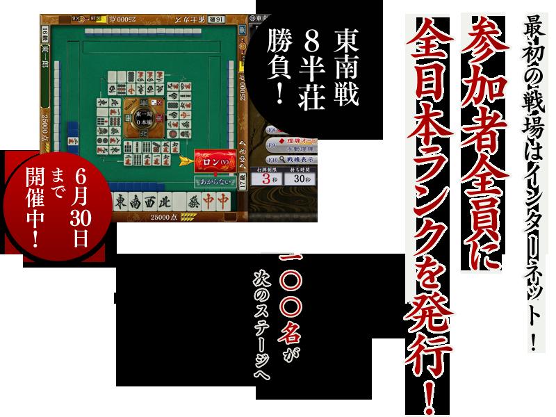 最初の戦場はインターネット!参加者全員に全日本ランクを発行!東南戦8半荘勝負!6月30日まで開催中!100名が次のステージへ