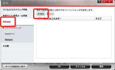 トレンドマイクロ ウイルスバスター2012 クラウド 例外設定