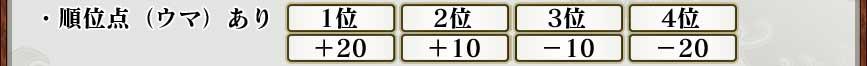 ・順位点(ウマ)あり 1位  2位  3位  4位            +20 +10 −10 −20