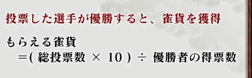 投票した選手が優勝すると、雀貨を獲得もらえる雀貨 = (総投票数×10) ÷ 優勝者の得票数