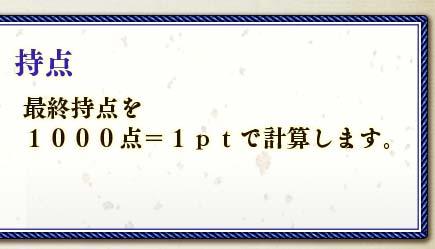 持点最終持点を1000点=1ptで計算します。