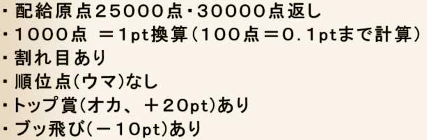 ・配給原点25000点・30000点返し・1000点 = 1pt換算(100点=0.1pt.まで計算)・割れ目あり・順位点(ウマ)なし・トップ賞(オカ、+20pt)あり・ブッ飛び(-10pt)あり