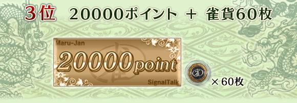 3位 20000ポイント+雀貨60枚