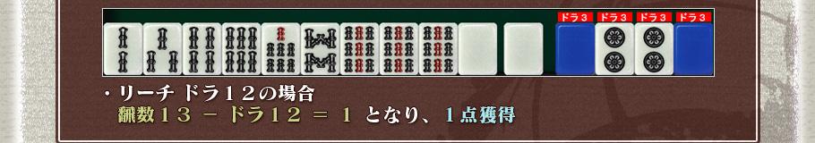 ・リーチ ドラ12の場合   飜数13 − ドラ12 = 1   となり、1点獲得