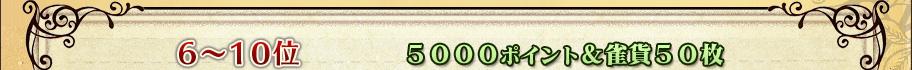 6〜10位    5000ポイント&雀貨50枚