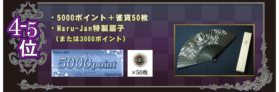 4-5位 ・5000ポイント+雀貨50枚 ・Maru-Jan特製扇子 (または3000ポイント)