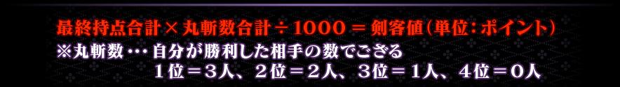 最終持点合計×丸斬数合計÷1000=剣客値(単位:ポイント) ※丸斬数・・・自分が勝利した相手の数でござる 1位=3人、2位=2人、3位=1人、4位=0人