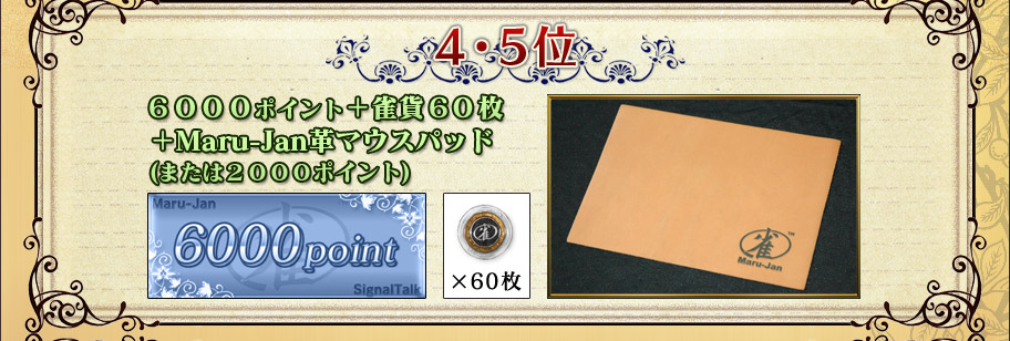 4・5位 6000ポイント+雀貨60枚 +Maru-Jan革マウスパッド (または2000ポイント)