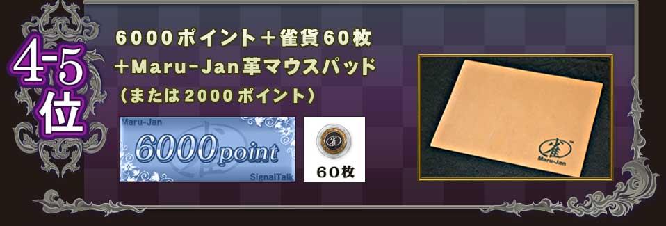 4−5位6000ポイント+雀貨60枚+Maru-Jan革マウスパッド(または2000ポイント)