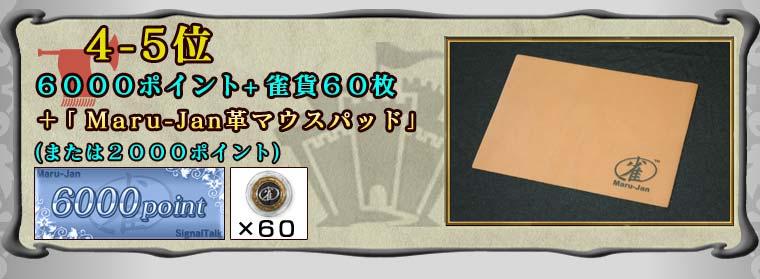 4−5位6000ポイント+雀貨60枚+「Maru-Jan革マウスパッド」(または2000ポイント)