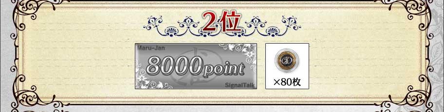 2位 8000ポイント+雀貨80枚