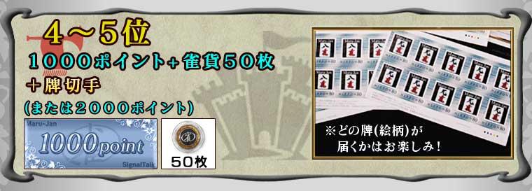 4〜5位1000ポイント+雀貨50枚+「牌切手」(または2000ポイント)