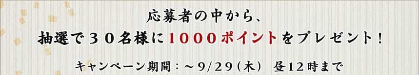 応募者の中から、 抽選で30名様に1000ポイントをプレゼント!  キャンペーン期間:〜9/29(木) 昼12時まで