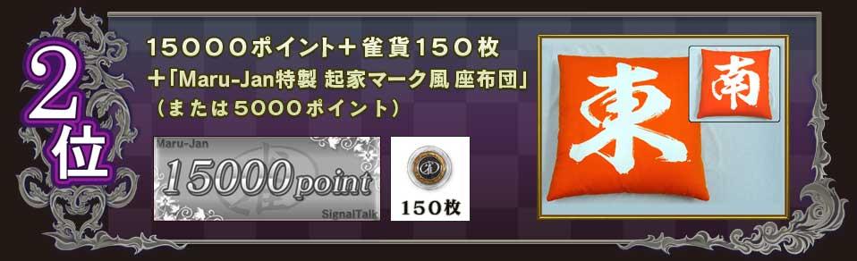 2位 15000ポイント+雀貨150枚 +「Maru-Jan特製 起家マーク風 座布団」 (または5000ポイント)