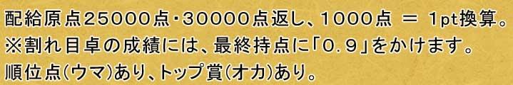 配給原点25000点・30000点返し、1000点 = 1pt換算。※割れ目卓の成績には、最終持点に「0.9」をかけます。順位点(ウマ)あり、トップ賞(オカ)あり。