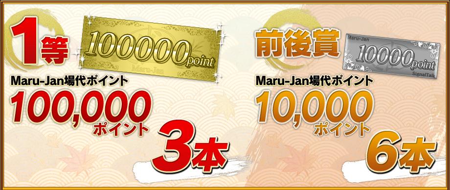 1等:Maru-Jan場代ポイント100,000ポイント3本 前後賞:Maru-Jan場代ポイント10,000ポイント6本