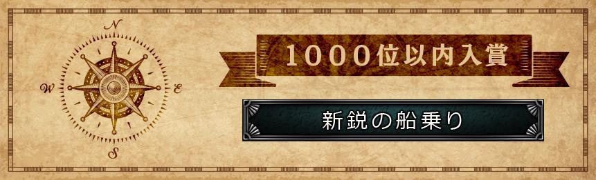1000位以内入賞 新鋭の船乗り