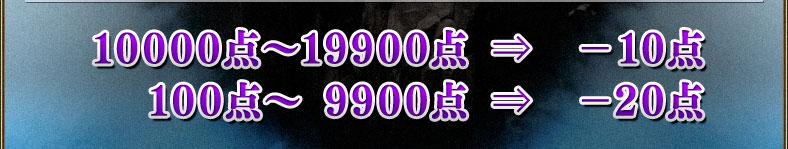 10000点~19900点⇒-10点 100点~ 9900点⇒-20点