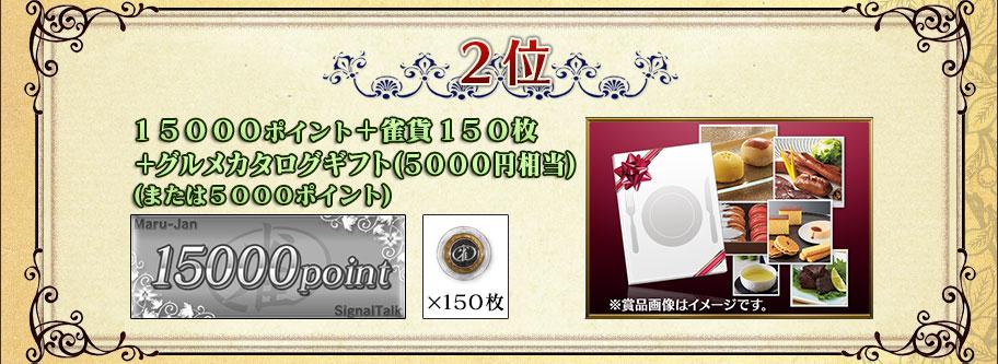 2位14500ポイント+雀貨150枚+グルメカタログギフト(5500円相当)(または5500ポイント)