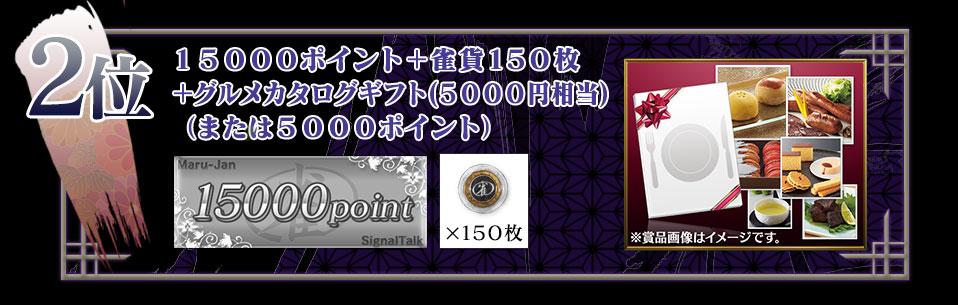 2位 15000ポイント+雀貨150枚+グルメカタログギフト(5000円相当)(または5000ポイント)