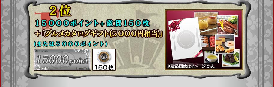 ■2位15000ポイント+雀貨150枚+グルメカタログギフト(5000円相当)(または5000ポイント)